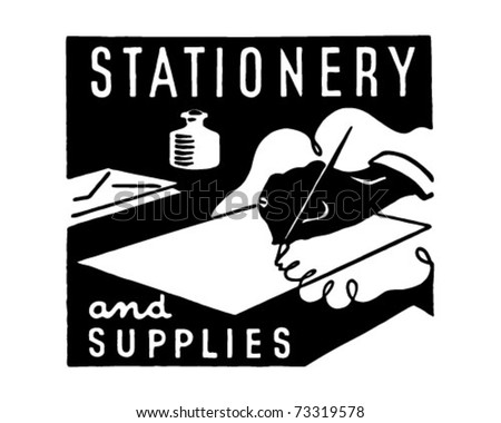 Stationery And Supplies - Retro Ad Art Banner - stock vector