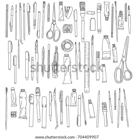stationery, art materials, scissors, tape and ruler, pencil sharpener and stapler paper, brushes and tubes of paint, hand drawn vector illustration