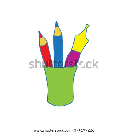 stationery beaker with pencils