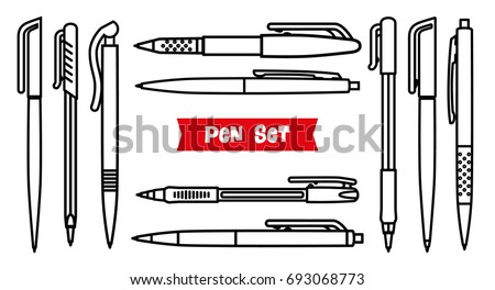 Stationery collection. Writing tools. Pens set. Outline style. Ballpoint thin line vector icons. Biro, Fountain pen, gel pen, ballpoint pen, capillary pen. Back to school. Writing materials Vector