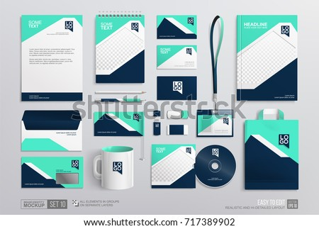 Stationery Corporate Brand Identity Mockup set. Business stationary mockup template. Fresh blue color abstract geometric graphics on annual report cover, brochure, corporate mug, letterhead