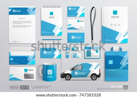 Stationery Corporate Brand Identity Mockup set. Fresh blue color abstract geometric graphics on annual report cover, van, brochure, bag, corporate mug, letterhead. Business stationary mockup template