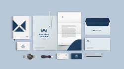 Stationery design mock up set for corporate identity or branding. Dark blue color style and grey background. Realistic top view corporate style set.