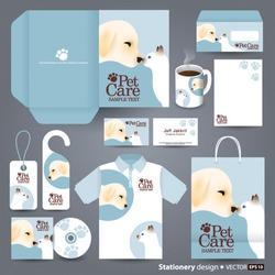 Stationery design set in vector format, Pet care concept.