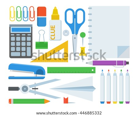 Stationery elements set. Elementary school appliances collection. Education tools. Scissors, pin, notebook, pen, pencil, marker, clue, stapler, eraser, ruler, divider supplies. Stationery icons.
