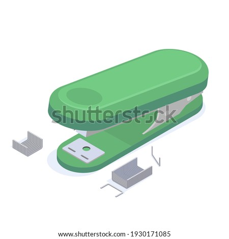 Stationery green office stapler with staples for stapling paper documents isometric vector illustration. Accessory equipment for attached paperwork or associate with metal clip isolated on white Stockfoto ©