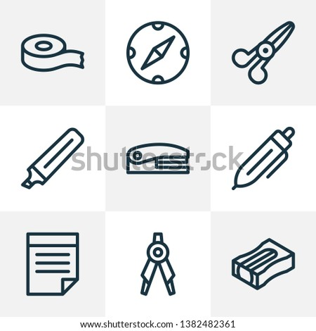 Stationery icons line style set with notes, scotch, stapler and other divider elements. Isolated vector illustration stationery icons.