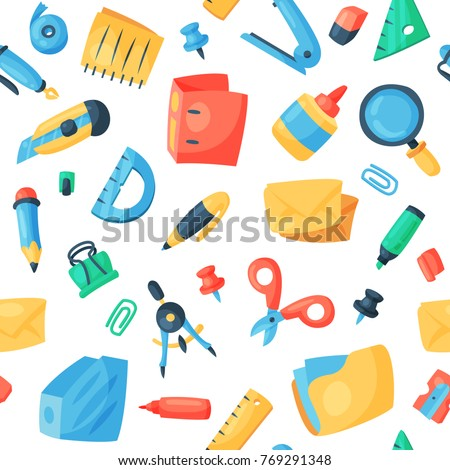 Stationery icons office supply vectorschool tools and accessories set education assortment pencil marker pen isolated on white background seamless pattern background Foto stock ©