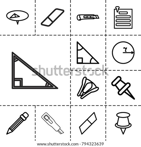 Stationery icons. set of 13 editable outline stationery icons such as pin, triangle, circle, eraser, pencil, cutter, stapler