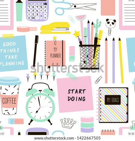 Stationery items cartoon vector seamless pattern. Time management hand drawn texture. Desk accessories decorative backdrop. Planner book, schedule planning. Wallpaper, wrapping paper flat design