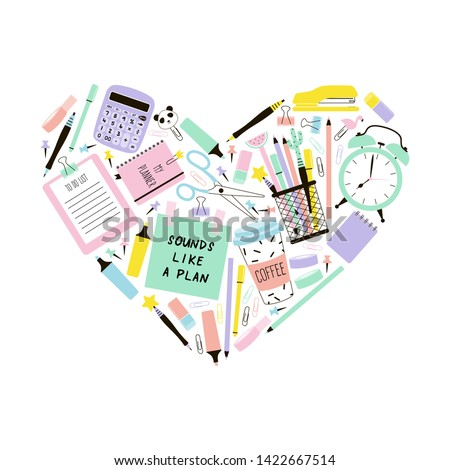 Stationery items in heart shape flat illustration. Abstract time management vector symbol. Work organization, task planning, love education. School supplies, sticky note, coffee and alarm clock