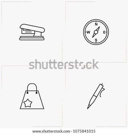 Stationery line icon set with ball pen, compass and stapler