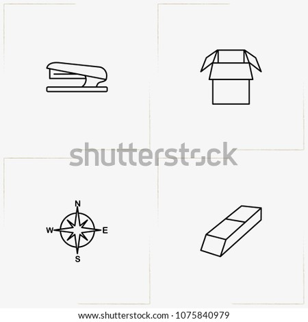 Stationery line icon set with eraser, stapler  and compass
