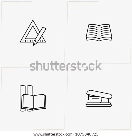 Stationery line icon set with triangle ruler , book and stapler