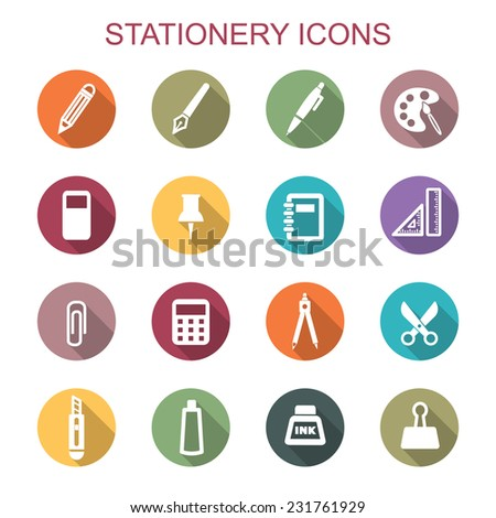 stationery long shadow icons, flat vector symbols