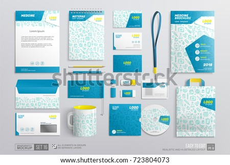 Stationery Mockup with medical elements white and blue color design. Pharmacy corporate identity template. Business medicine branding mockup of brochure, notepad, letterhead, envelope, mug, bag