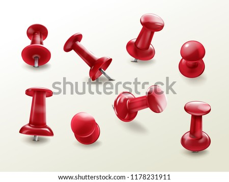Stationery office thumbtack, vector realistic set of red glossy push pins for fixing on board reminders, notes, top and side view with different tilt angle, isolated on white background