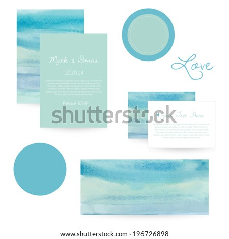 Stationery Set. Vector Stationery Set. Watercolor Wedding Invitation. Watercolor Wedding Set. Sticker Template. Marketing Template. Marketing Set. Watercolor Business Card.