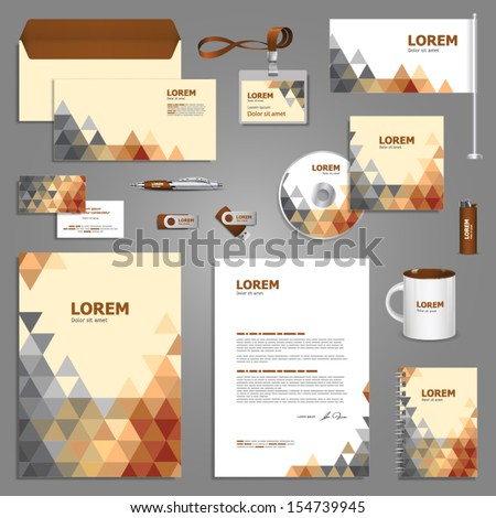 Stationery template design with triangles. Documentation for business.