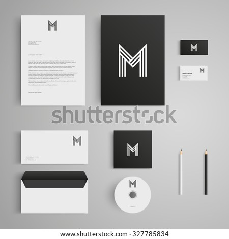 Stationery template with letter M logo. Corporate, identity, company, branding, cd, business card, envelope, leaflet, letterhead, folder. Clean and modern style