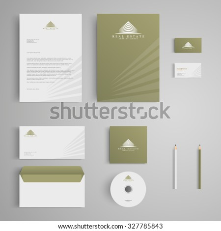 Stationery template with real estate logo, apartment, house, rental, condo. Corporate, identity, company, branding, cd, business card, envelope, leaflet, letterhead, folder. Clean and modern style