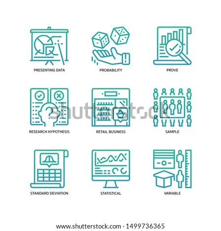 Statistical Analysis icons set gradient style