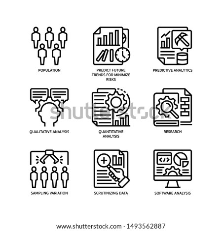 Statistical Analysis icons set outline style