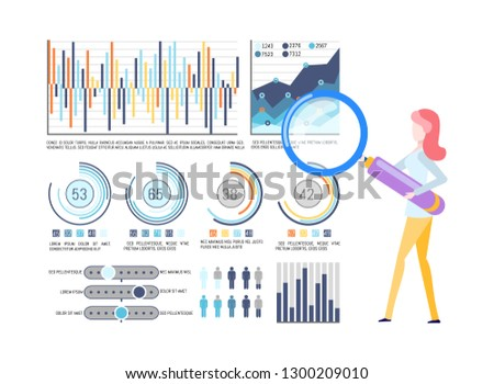 Statistical charts and graphics, business infographic vector. Percentage or flowcharts, businesswoman with magnifier, population statistics and development
