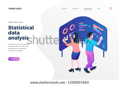 Statistical data analysis isometric landing page template. Cartoon analysts managing chart and diagrams on interactive screens. Making financial reports, presentations services homepage design layout