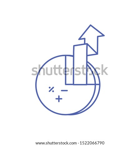 statistical graphics circular with arrow up vector illustration design