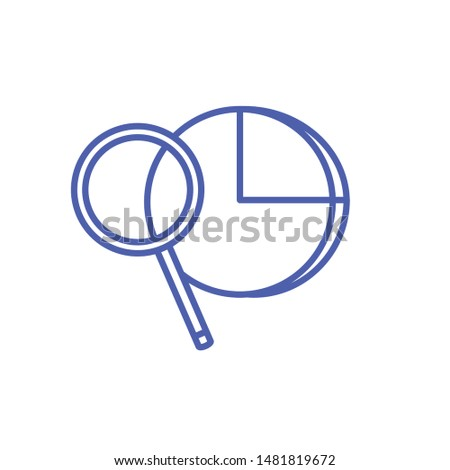 statistical graphics circular with search magnifying glass