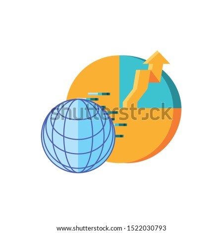 statistical graphics circular with sphere browser technology vector illustration design