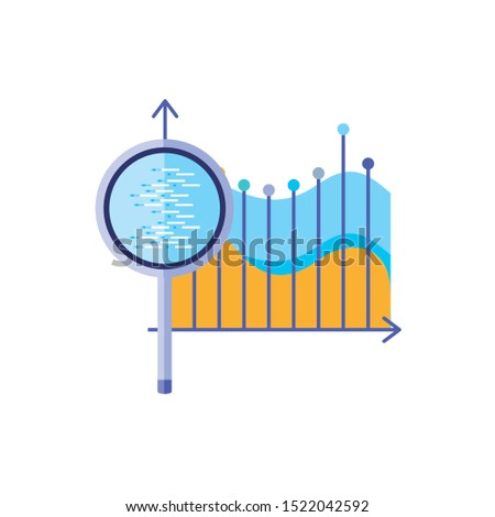 statistical graphics with search magnifying glass vector illustration design