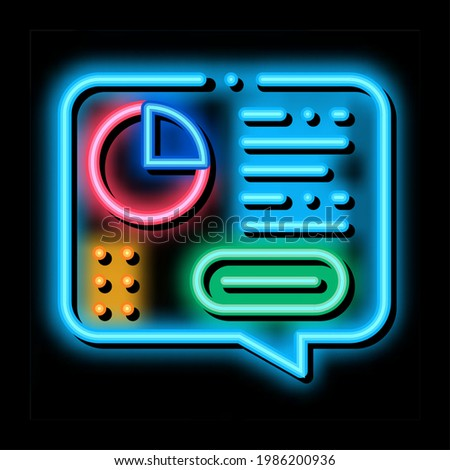 Statistician Report Spoken neon light sign vector. Glowing bright icon Statistician Analytics With Diagram And Text In Quote Frame sign. transparent symbol illustration Stock photo ©