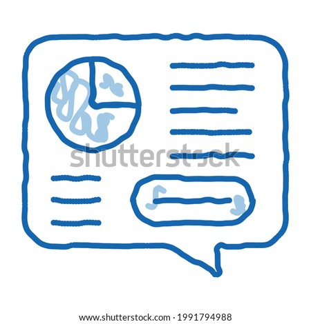Statistician Report Spoken sketch icon vector. Hand drawn blue doodle line art Statistician Analytics With Diagram And Text In Quote Frame sign. isolated symbol illustration Stock photo ©