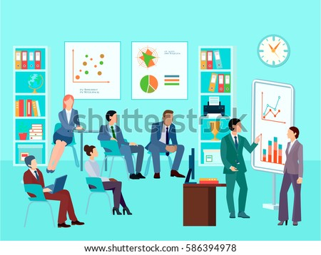 Statistics analytics business worker characters meeting composition with staff working session toolbox talk graphs and diagrams vector illustration