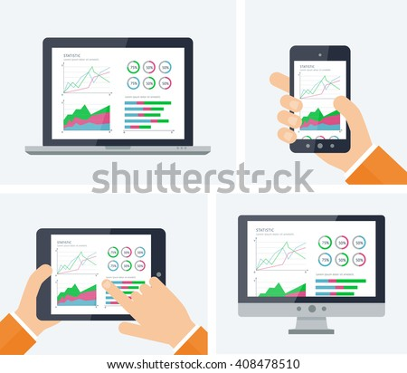 Statistics. Flat vector infographic with graphs and charts elements on devices screens. Finance statistics report, business statistics, mobile app ui kit, modern technology. Analytics process concept