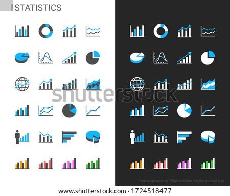 Statistics icons light and dark theme. 48x48 Pixel perfect.