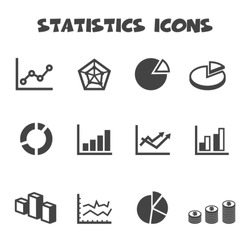 statistics icons, mono vector symbols