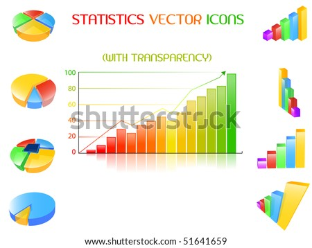 Statistics icons set - stock vector