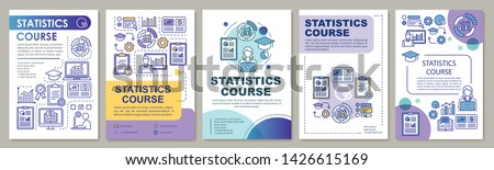 Statistics, metrics tools course brochure template layout. Flyer, booklet, leaflet print design with linear illustrations. Vector page layouts for magazines, annual reports, advertising posters