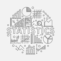 Statistics subject illustration - vector round symbol made of word Statistics and statistic thin line signs: graph, chart, diagram