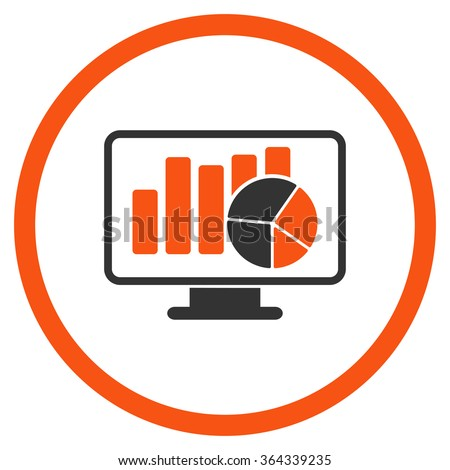 Statistics vector icon. Style is bicolor flat circled symbol, orange and gray colors, rounded angles, white background.