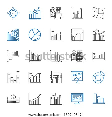 stats icons set. Collection of stats with bar chart, line chart, progress bar, pie chart, statistics, graph, bar graph. Editable and scalable stats icons.