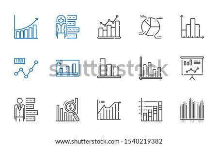 stats icons set. Collection of stats with bar chart, line chart, statistics, pie chart, bar graph. Editable and scalable stats icons.