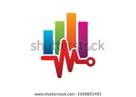 stats pulse logo design template