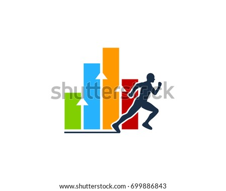Stats Run Icon Logo Design Element