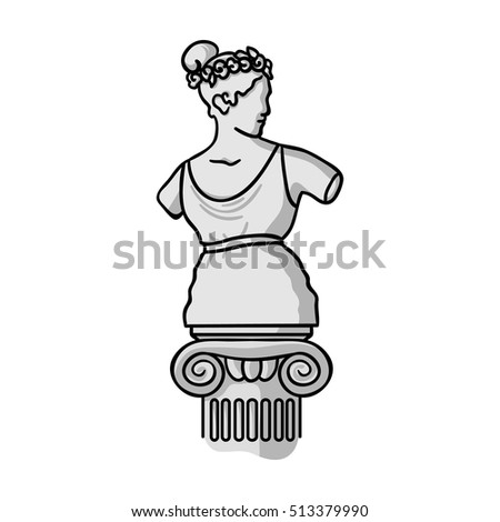 Statue icon in monochrome style isolated on white background. Museum symbol stock vector illustration.