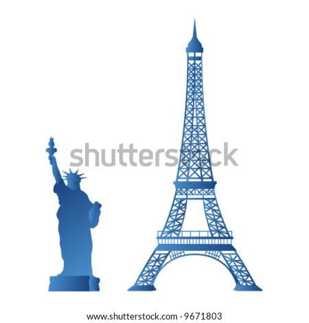 statue liberty  eiffel tower