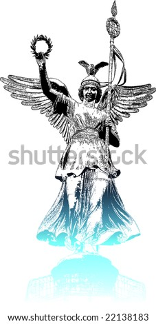 Statue of Angel On Victory Column Siegessaeule in the night, Berlin (Germany)